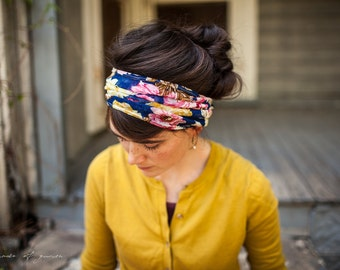 Indigo Rose Floral Stretch Headwrap Garlands of Grace headband headcovering hair wrap