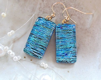 Blue, Green, Large, Dichroic Earrings, Glass Jewelry, Dangle, Gold Filled, A1