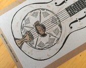 Hand-Carved RESONATOR GUITAR Print- String INSTRUMENT - Hand Printed Letterpress Poster