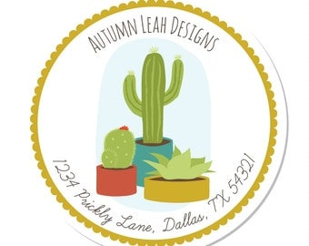 Personalized Stickers -- Cactus -- Party Favor Stickers, Personalized Address Labels, Personalized Address Stickers -- Choice of Size
