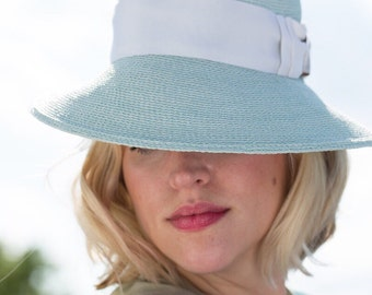 FEDORA Hat | Resort Straw Hat | Seafoam Blue Hat-Inspired by classic Chanel shoes | Vintage Classic Style Fedora