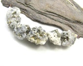 Pyrite in Quartz Rough Jagged Sparkly Nugget Beads Golden and Gray set of six