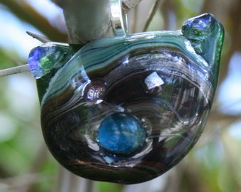 "FUNKY FELINE ""Tom"" Fused Glass Pendant -- Art Glass By YM"