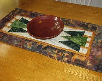 Handmade Quilted Table Runner, Pine Tree Nature Scene, Table Topper
