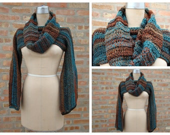 Crochet Shrug with Matching Infinity Scarf - Brown and Blue Blend