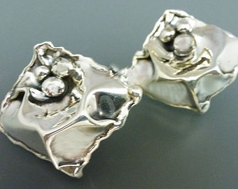 Sterling Silver Earrings with Sterling Posts Crinkle 3 Bubbles