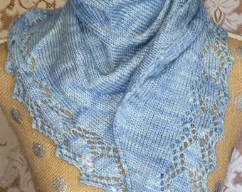 Hand-knitted Wool and Tencel Scarf or Wrap Powder Blue