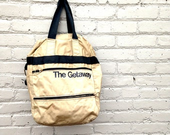 The GETAWAY bag by Design Express // Mckee, Kentucky // 1980's Backpack // Typography // Retro Print // Backpacker Hiking Mountains / Travel