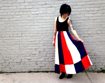 1960's Patriotic MAXI SKIRT // Fourth Of July Skirt // Ankle Length // Heavy // Warm / French // France / Paris / Red White and Blue Medium