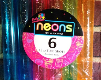 Weird Science Spunky EMPTY 6pk Neons 1.5ox Tube Shots