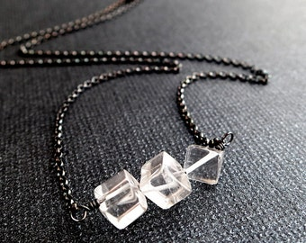Ice necklace, Sterling Silver, Quartz Crystal cubes, clear gemstone, Minimal jewelry