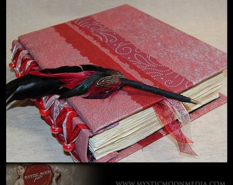 Scarlet Silver Swirl...Patchwork... Beaded XL Handmade Journal / Sketch Book and Quill Pen...Guest Book...Refillable BOS