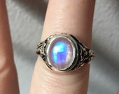 Rainbow Moonstone and Sterling- The Ivy Ring