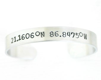 Custom Coordinates Bracelet - Destination bracelet - Cuff Bracelet - latitude longitude - gps 3rd anniversary gift for wife or husband