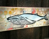 Humpback Whale Graffiti Painting on Canvas Pop Art Style Original Artwork Stencil Urban Street Art Ocean Art