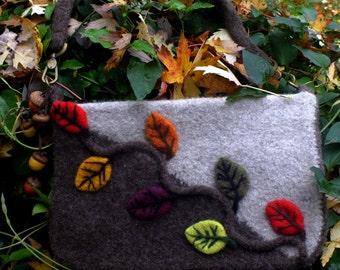 Felted Autumn Leaves Purse/Messenger Bag