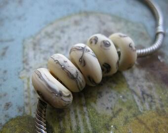 Handmade Glass Beads Silvered Ivory Organics  Large Hole Focals -  Lampwork Beads by Ellen Dooley SRA (5)