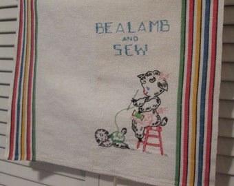 Vintage Embroidered Cotton Dish Towel/ Tea Towel