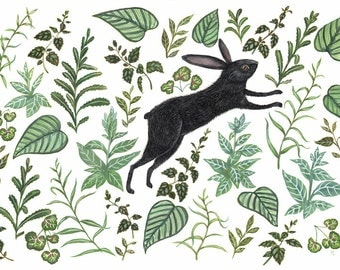 Hare in Foliage - Print