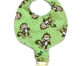 Baby Pacifier Holder Bib Monkeys  Add a Name