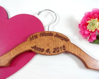 Personalized Wedding Hanger - Handmade - Engraved No Wire Hanger - Cherry Stain Customized Bride Hangers - Cherry Wood Hangers - Keepsakes