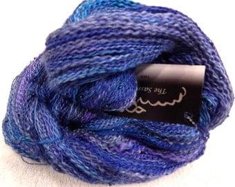 Sarah's Blues Frozen Handspun Beaded Laceweight Yarn