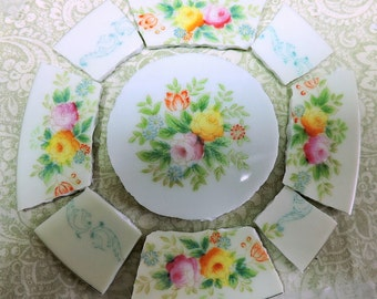 China Mosaic Tiles - HaND PAiNTeD RoSE BOuQUeT- Broken plate repurposed