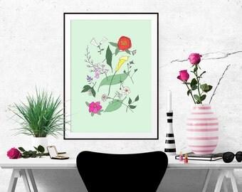 Botanical Flora Decorative Illustration Art Poster 1