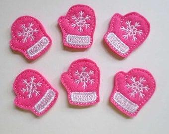 Bright Hot Pink Mittens -  Felt Machine Embroidered Feltie - Applique - 278