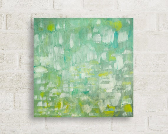 "original painting, acrylic, painting, mid century modern, wall art, abstract, large art, large wall art, green, art - ""Memories of the Sea"""