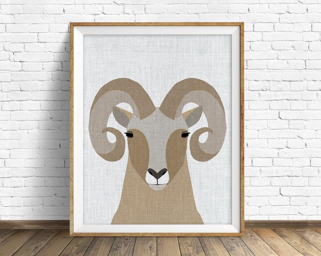 bighorn sheep - art print, large art, mid century modern wall art