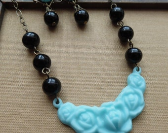 75% Off Price Sale- Sky Blue Noir Earrings and Necklace Set