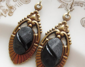 Vintage Glass Button Earrings- Adelaide