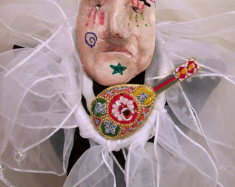 Lonely Mandolin Musical Jester Wearable Art Doll Pin Brooch Funky Altered Art Mixed Media Outsider Creation Rare OOAK Doll Free Shipping