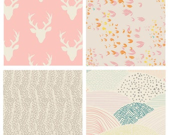BUNDLE - Hello, Bear, Meadow Winged - Art Gallery Fabrics - Leah Duncan - Bonnie Christine - Pink Deer Antlers Nursery Girl