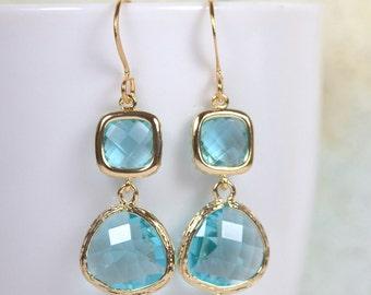 Long Aquamarine Gold Framed Stone Dangle Earrings, Gold Earrings, Aquamarine Gold Earrings, Long Gold Earrings [#893]