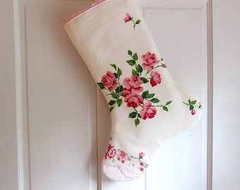 Princess Roses Stocking, Wilendure Tablecloth Stocking, Christmas Stocking, Baby Girl Stocking, Girly Girl Stocking, Cottage Chic Stocking