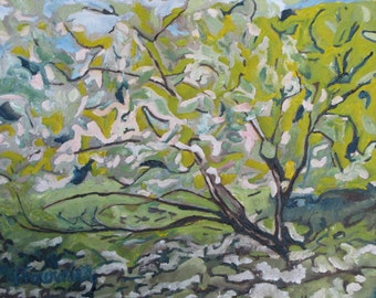 "Original Plein Air Landscape Oil Painting Impressionist Expressionist Wild Apple Tree Orchard Canada Quebec By Fournier ""Through The Light """