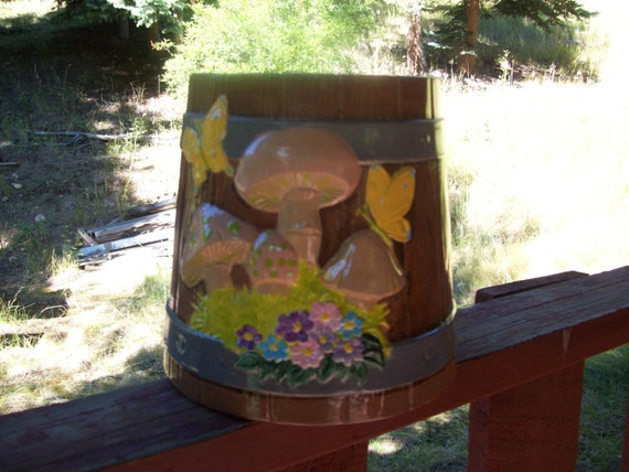 Handpainted ceramic made to look like old wood bucket w/ Mushrooms & flowers, butterflies, indoor/outdoor decoration, planter, great gift