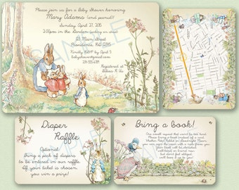 Peter Rabbit Baby Shower Invitation - Peter Rabbit / Beatrix Potter Neutral Theme (or Birthday Party), Bring a Book, Diaper Raffle Vintage