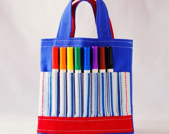 Crayon Tote • Crayon Bag • Coloring Bag • Art Tote • Crayon Holder • Crayon Roll • Ring Bearer • Busy Bag • ARTOTE MINI in Play Ball
