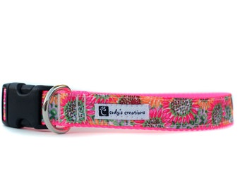 1 Inch Wide Dog Collar with Adjustable Buckle or Martingale in Pink Sunflowers