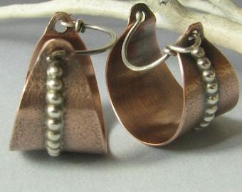 Contemporary Copper Earrings, Copper And Sterling Silver Basket Earrings, Mixed Metal Earrings Hoop Earring Metalsmith Jewelry, Basket Hoops