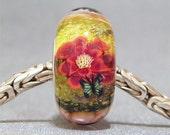 Green & Pink Handmade SRA Lampwork Glass Butterfly Big Hole Bead Flower Garden