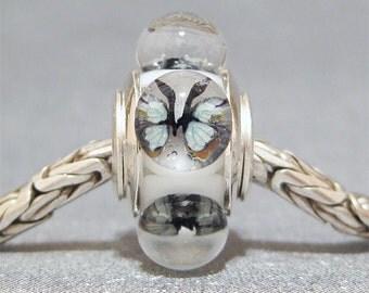 Butterfly Bead Handmade Lampwork Euro Charm Limited Edition Pale Aqua Butterflies