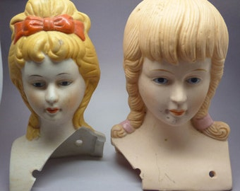 Set of 2 Vintage Salvaged Ceramic Face Busts for Dolls, Altered Art, Crafts and Molding