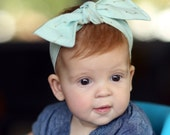 SALE! // Mint Headband // Gold Arrows // Baby Knotted Headband // Hipster Baby // Baby Head Wrap // Top Knot Headband // Infant Headband