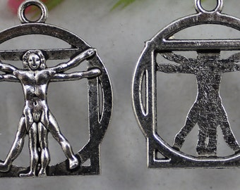Silver charm Leonardo da vinci man The Vitruvian Man body circle pendant art renaissance jewelry findings supplies  drw500 quantity two