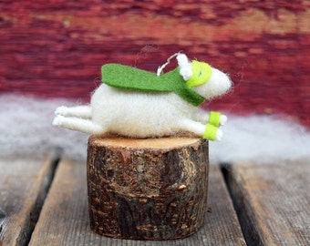 Super Hero Lamb Ornament in Greens - Needle Felted Sheep to the Rescue