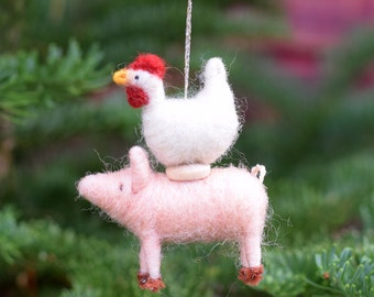 Chicken on a Piglet - Circus Farm Stack - Needle Felted Christmas Ornament
